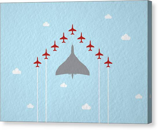 Hawks Canvas Print - Raf Red Arrows In Formation With Vulcan Bomber by Samuel Whitton