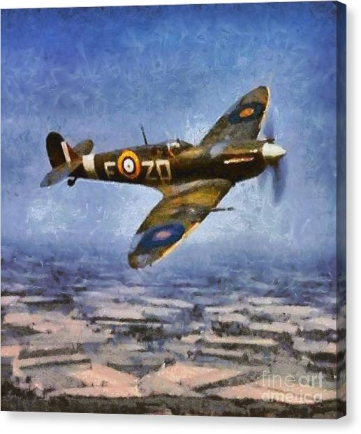 Hurricanes Canvas Print - Raf Spitfire, Wwii by Mary Bassett