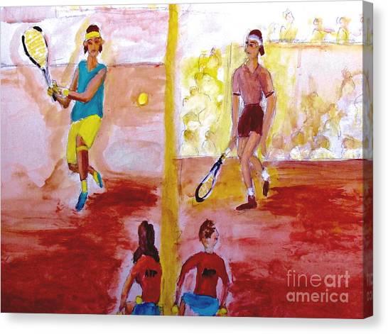 Roger Federer Canvas Print - Rafa Versus Federer by Stanley Morganstein