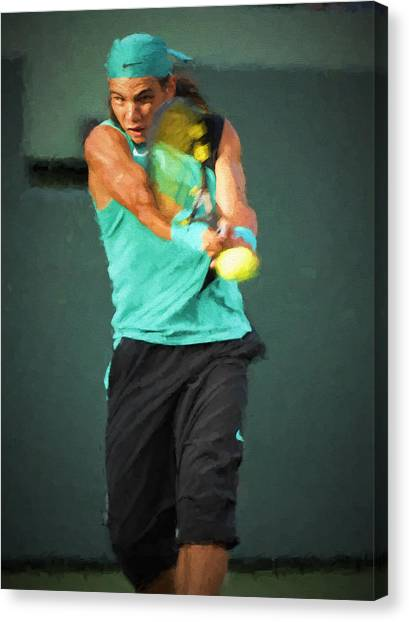 Canvas Print featuring the painting Rafael Nadal by Lou Novick