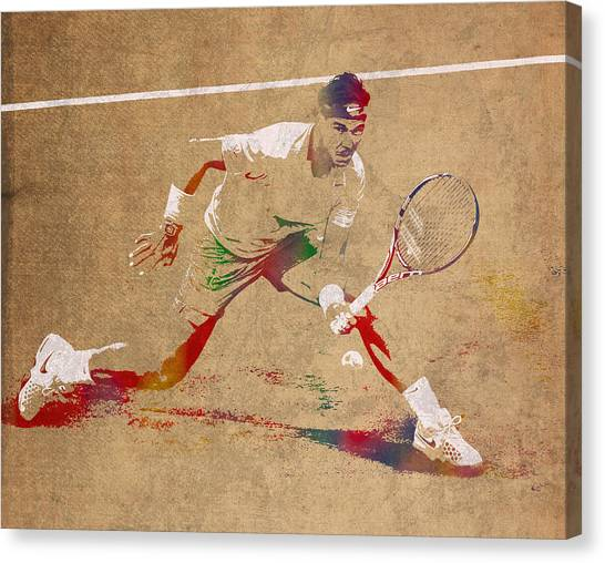 Rafael Nadal Canvas Print - Rafael Nadal Tennis Star Watercolor Portrait On Worn Canvas by Design Turnpike