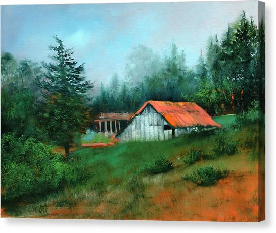 Ragged Point Barn Canvas Print by Sally Seago