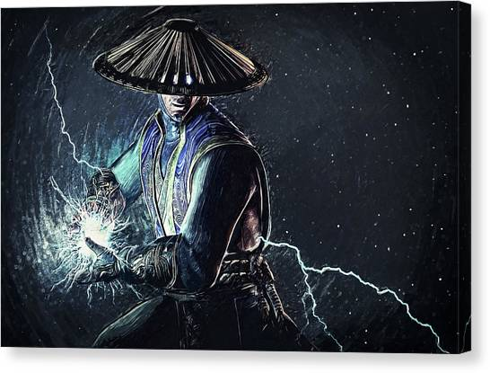 Xbox Canvas Print - Raiden - Mortal Kombat by Taylan Soyturk