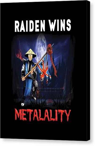 Mortal Kombat Canvas Print - Raiden Wins Metalality by David Martinez