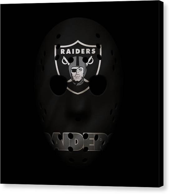 Oakland Raiders Canvas Print - Raiders War Mask 4 by Joe Hamilton