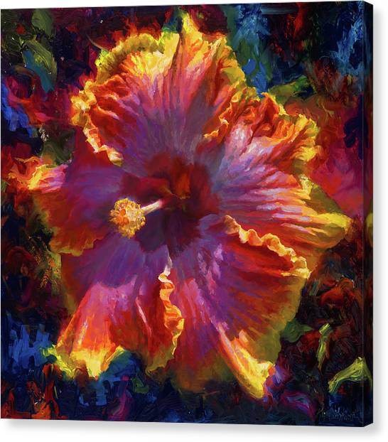 Rainbow Hibiscus Tropical Flower Wall Art Botanical Oil Painting Radiance  Canvas Print