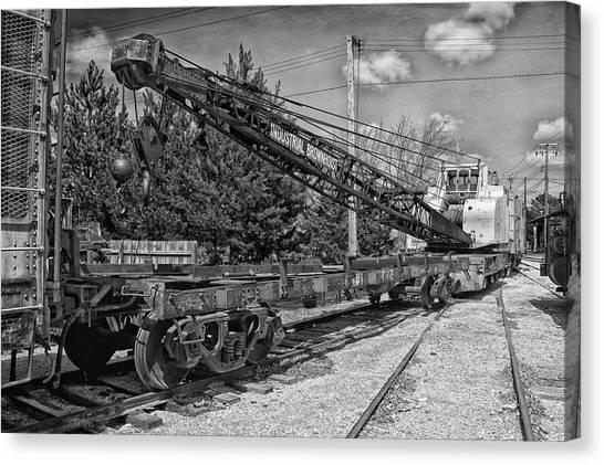 Thomas The Train Canvas Print - Rail Crane Black And White by Thomas Woolworth
