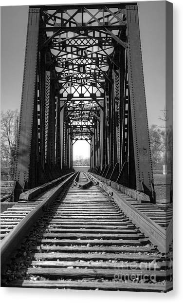 Railroad Bridge Black And White Canvas Print