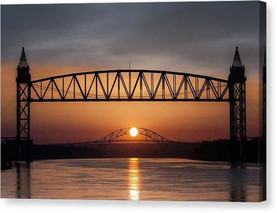 Railroad Bridge Framing The Bourne Bridge During A Sunrise Canvas Print