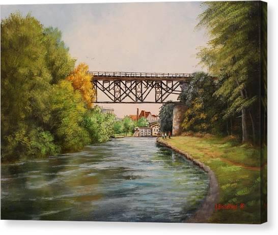 Railroad Bridge Over Erie Canal Canvas Print