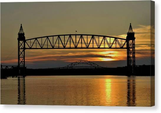 Railroad Bridge Over The Canal Canvas Print