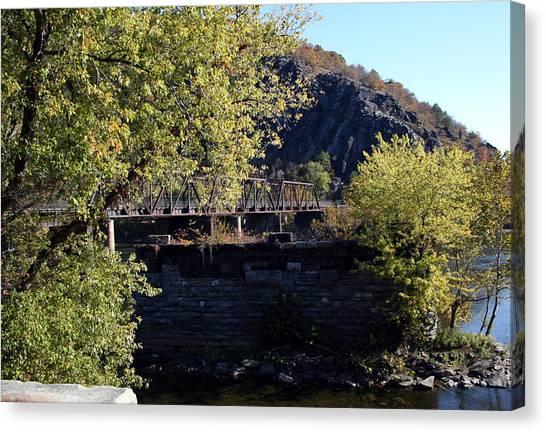 Railroad Bridge Over The Potomac Canvas Print by Rebecca Smith