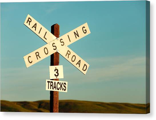 Dirt Road Canvas Print - Railroad Crossing by Todd Klassy