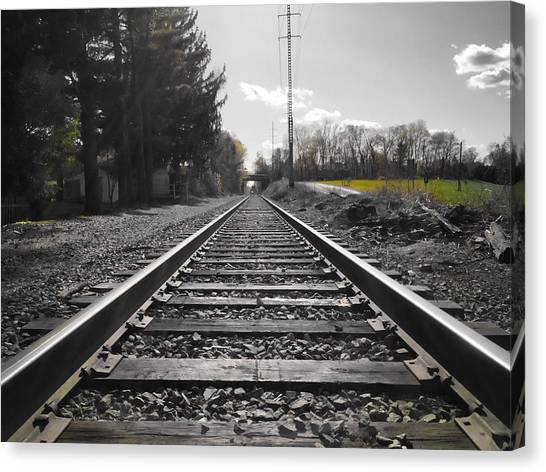 Railroad Tracks Bw Canvas Print
