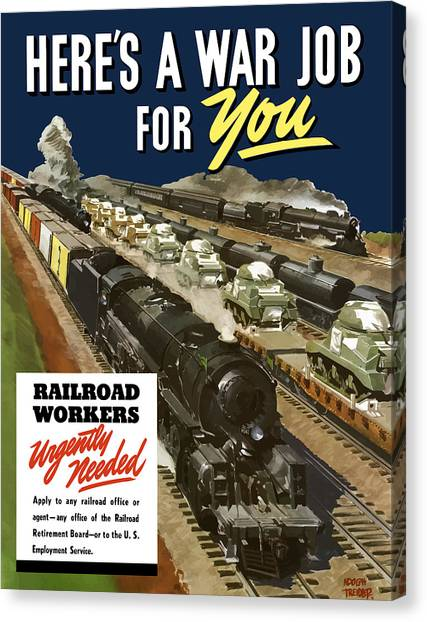 Railroads Canvas Print - Railroad Workers Urgently Needed by War Is Hell Store