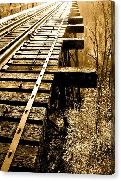 Rails Of Olde  Canvas Print by Adrienne Talbot