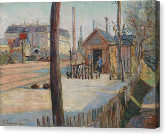 Divisionism Canvas Print - Railway Junction Near Bois-colombes  by Paul Signac
