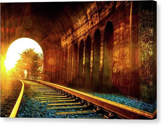 Railway Track Sunrise Canvas Print