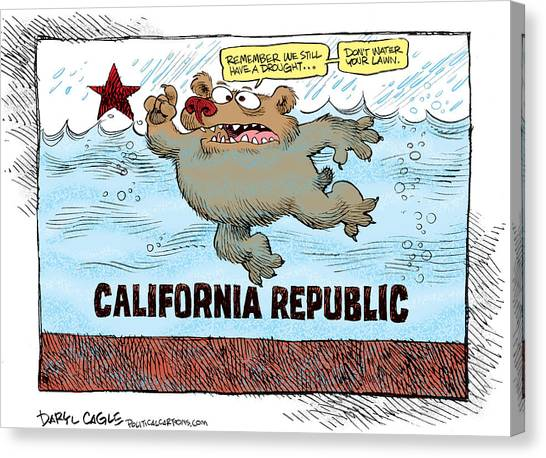 Canvas Print featuring the drawing 	Rain And Drought In California by Daryl Cagle