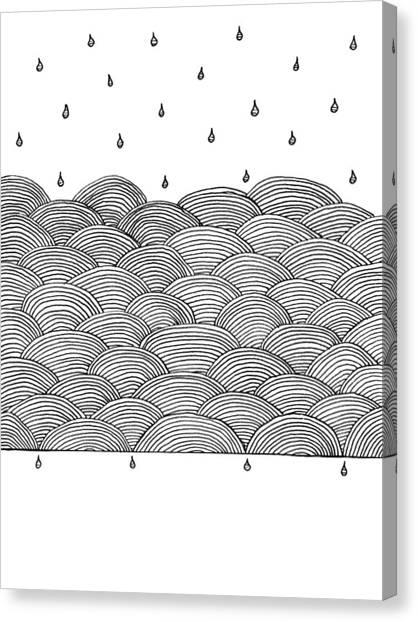 Rain And Sea Canvas Print by Konstantin Sevostyanov