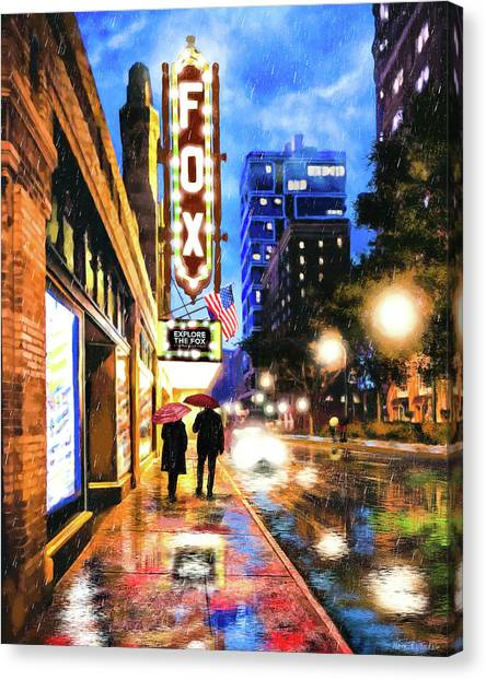 Canvas Print featuring the mixed media Rain Falling On Peachtree Street - Atlanta by Mark Tisdale