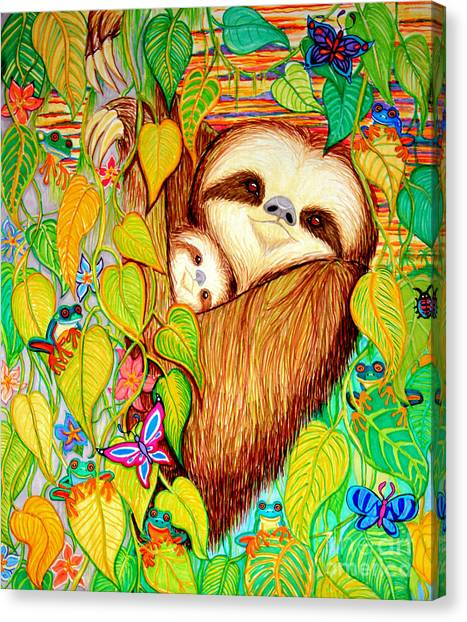 Sloth in tree canvas print rain forest survival mother and baby three toed sloth by