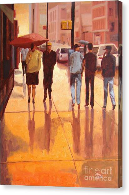 Orange Canvas Print - Rain In Manhattan Number Eighteen by Tate Hamilton