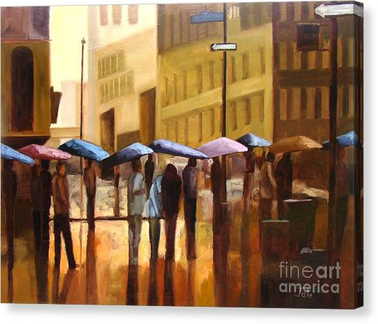 City Scenes Canvas Print - Rain In Manhattan Number Seventeen by Tate Hamilton