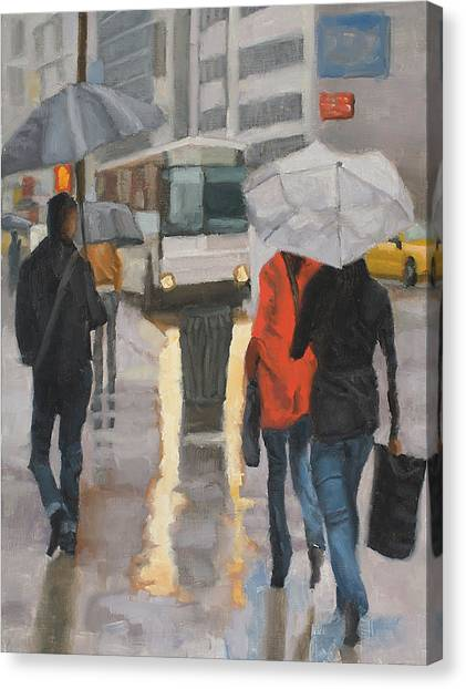 Rain In Midtown Canvas Print