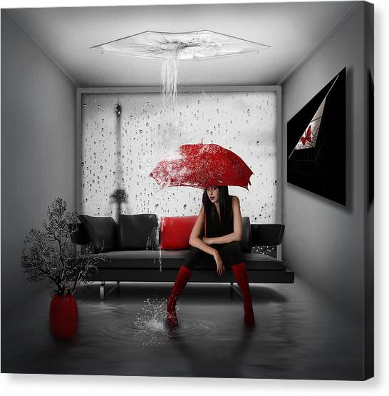 Manipulation Canvas Print - Rain In Paris by Nataliorion