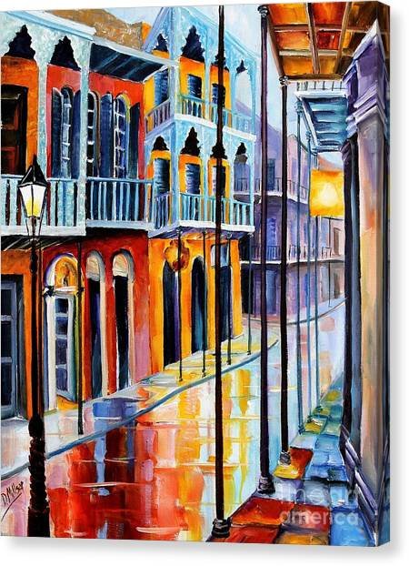 Mardi Gras Canvas Print - Rain On Royal Street by Diane Millsap
