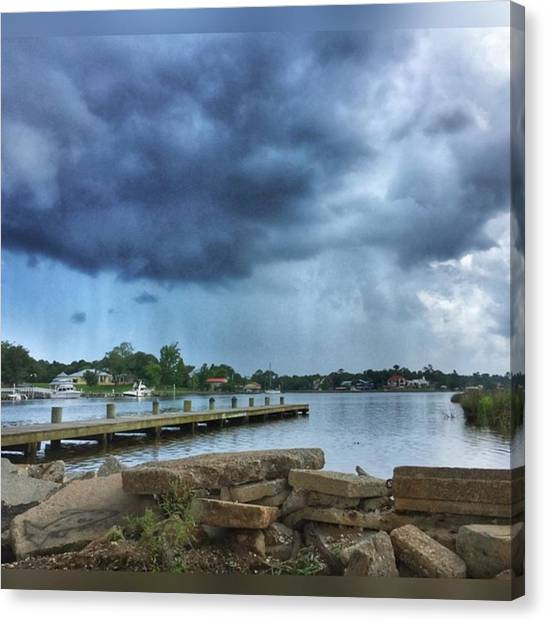 Storms Canvas Print - Rain On The Bayou #snapseed #enlight by Joan McCool