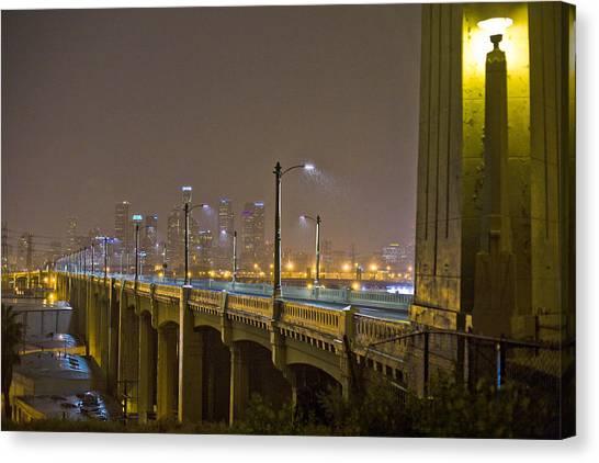 Rain On The Sixth Street Bridge  Canvas Print by Kevin  Break