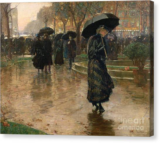 Reflections Canvas Print - Rain Storm Union Square by Childe Hassam