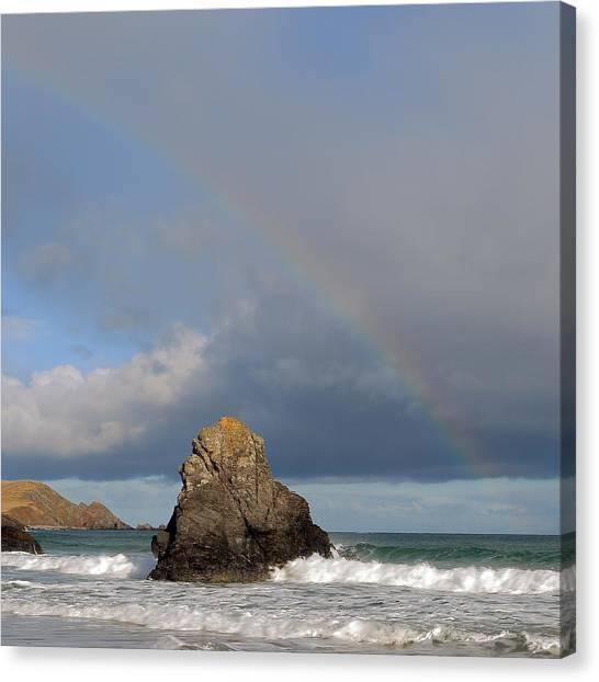 Rainbow Above Sango Bay Sea Stack Canvas Print
