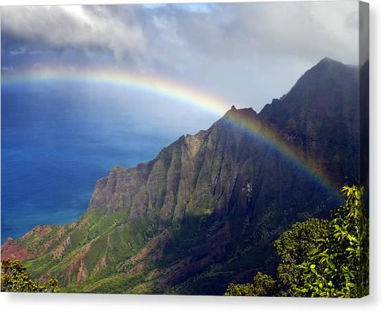 Hawaii Canvas Print - Rainbow Along The Na Pali Coast Kauai Hawaii From The Kalalau Lookout by Brendan Reals