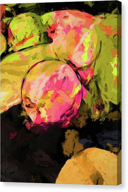 Rainbow Apples Graffiti Green Canvas Print