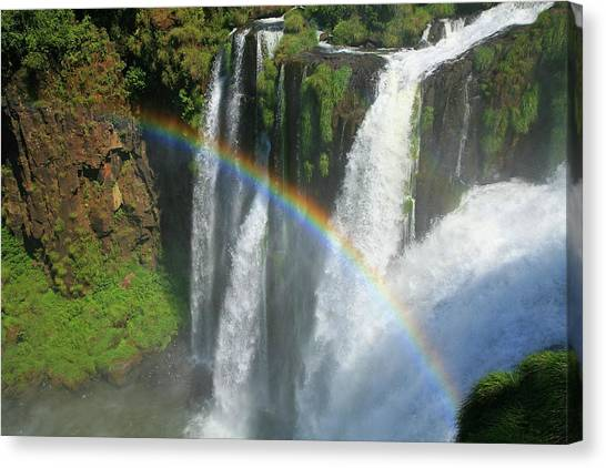 Iguazu Falls Canvas Print - Rainbow At Iguazu Falls by Bruce J Robinson