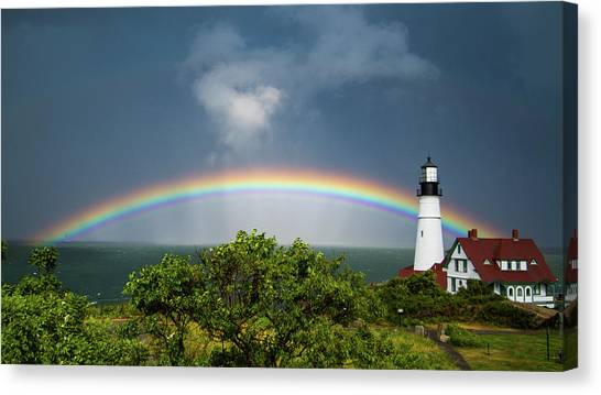 Rainbow At Portland Headlight Canvas Print