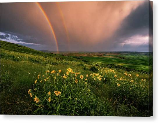 Rainbow At Steptoe Butte Canvas Print