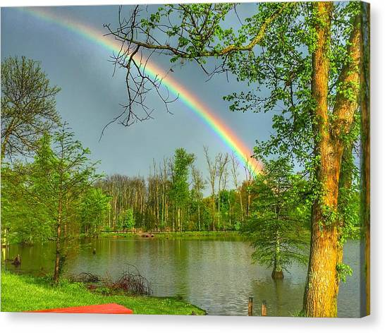 Rainbow At The Lake Canvas Print