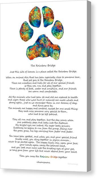Heaven Canvas Print - Rainbow Bridge Poem With Colorful Paw Print By Sharon Cummings by Sharon Cummings