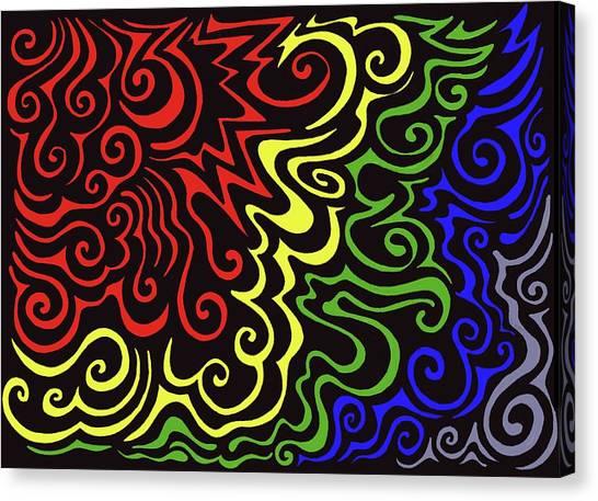 Rainbow Burst Tribal Canvas Print