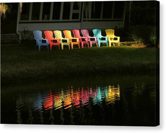 Rainbow Chairs  Canvas Print