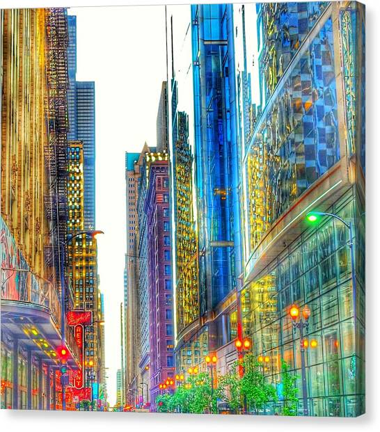 Canvas Print featuring the photograph Rainbow Cityscape by Marianne Dow
