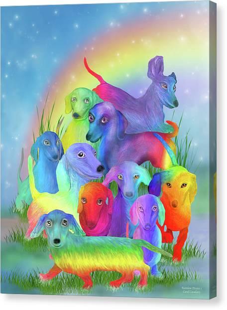 Canvas Print featuring the mixed media Rainbow Dachshunds 1 by Carol Cavalaris