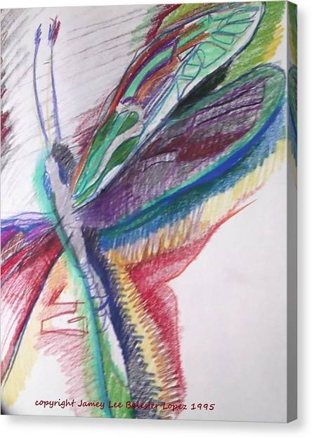 Rainbow Dragonfly Canvas Print by Jamey Balester