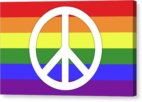 Rainbow Six Canvas Print - Rainbow Flag With Peace Symbol by Peter Hermes Furian