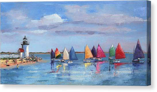 Rainbow Fleet Parade At Brant Point Canvas Print