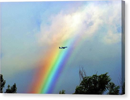 Rainbow Flight Over Denver Colorado Canvas Print